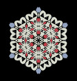 mandala round ornament pattern on black vector image