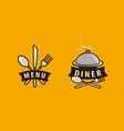 menu diner logo food service cuisine vector image vector image