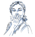 Monochrome hand-drawn image shocked young woman vector image vector image