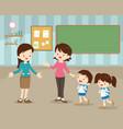 mother sending children to school vector image vector image
