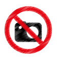 photographic camera with denied sign vector image