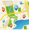 realistic detailed 3d parking map for app card vector image