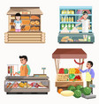 sellers in various shops colorful poster on white vector image vector image
