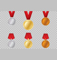 set of gold bronze and silver award medals vector image vector image
