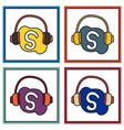 set of unusual look skype logo vector image vector image