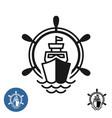 ship logo with wheel and sea waves ocean cruises vector image vector image