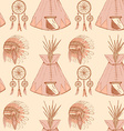 Sketch native americans symbols in vintage style vector image