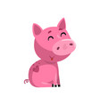 smiling pink funny cartoon baby piglet cute vector image vector image