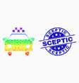 spectrum dot taxi car icon and scratched vector image vector image