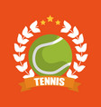 tennis ball wreath laurel banner sport vector image