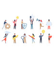 tiny people with social media icons small vector image