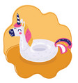 unicorn inflatable pool ring vector image