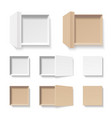 white and craft open boxes set empty cardboard vector image