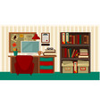 comfortable workplace in house colorful vector image