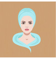 with a face of girl with towel vector image