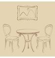 Sketched cafe interior vector image