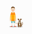 young man is standing and his dog sits next to him vector image