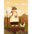 a traveler with a dog in the mountains hiking vector image vector image