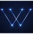 abstract letter w with glowing lines vector image vector image