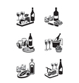 Alcoholic drinks with appetizers vector image