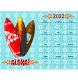 aloha calendar 2012 vector image vector image