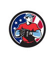 american baseball pitcher usa flag icon vector image vector image