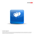 balloons icon - 3d blue button vector image