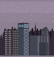 buildings cityscape at night vector image vector image
