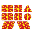 buttons with flag of Macedonia vector image vector image