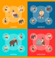 cartoon characters caveman cute people banner set vector image vector image