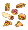 cartoon flat fast food set isolated vector image vector image