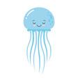 cartoon funny blue jellyfish vector image vector image