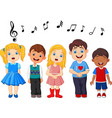 cartoon group of children singing in the school ch vector image vector image