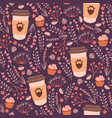 coffee and flowers seamless pattern vector image vector image
