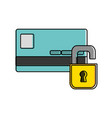color finance credit card with padlock open vector image