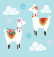 cute hand drawn lama alpaca or guanaco with vector image