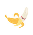 cute peeled banana kawaii food cartoon character vector image