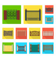 different fence flat icons in set collection for vector image