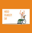 disabled male office worker rejoice in wheelchair vector image