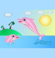 dolphins near the island vector image vector image