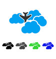 falling airplane in clouds flat icon vector image