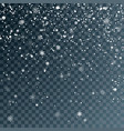 falling snowflakes on transparent background vector image vector image