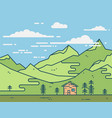 flat house in green mountains vector image