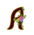 flower alphabet letter a decorated with roses and vector image vector image