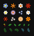 flowers and leaf icons set on black background vector image