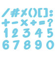 font design for numbers in blue vector image vector image