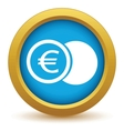 Gold euro coin icon vector image vector image