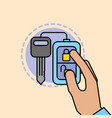 hand holding remote key car service maintenance vector image
