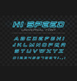 high speed glowing font fast sport futuristic vector image vector image