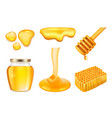 honey jar golden or yellow sticky splashes of vector image vector image